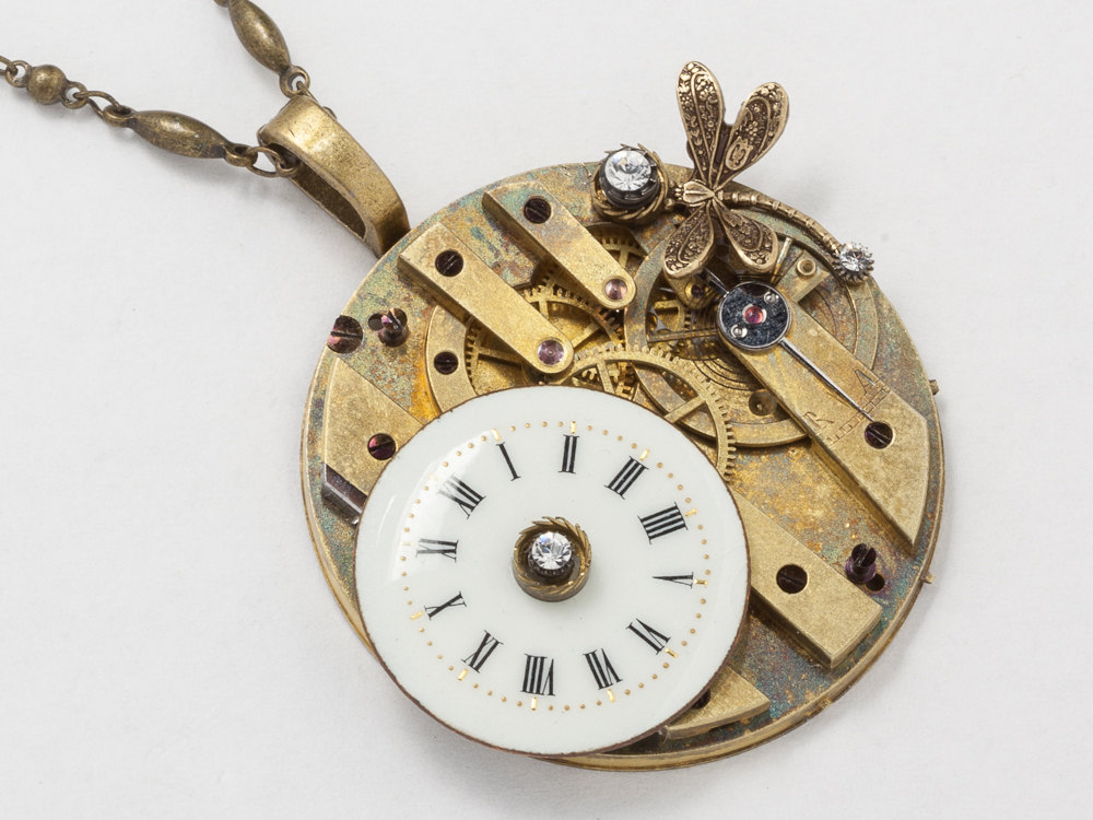 Steampunk jewelry Steampunk Necklace key pocket watch movement gears gold dragonfly crystal porcelain pendant Statement