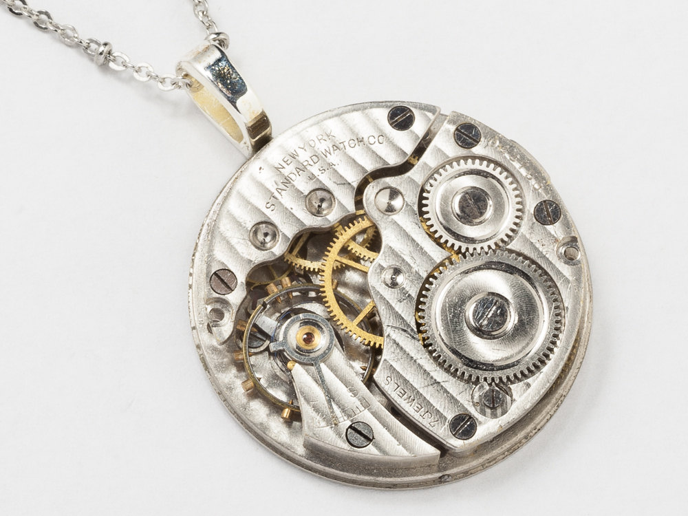 Silver pocket watch necklace pinstriped and engraved pendant steampunk jewelry steampunk necklace silver pocket watch movement gears pinstripe engraved antique men women pendant statement mozeypictures Choice Image