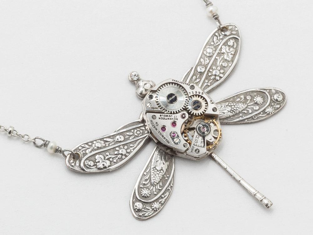 Steampunk jewelry Steampunk Necklace vintage watch movement silver ...