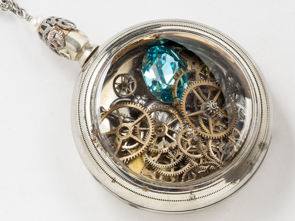 03f490083 Steampunk Locket Antique Silver Pocket Watch Case Necklace with Silver  Bumble Bee Pendant Gears Wheels Blue Topaz Crystal and Pearl