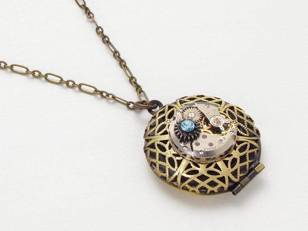 Steampunk locket necklace antique watch movement gears blue