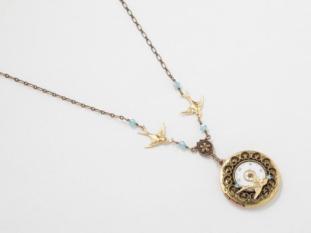 Steampunk Locket Necklace Pocket Watch gears face dial blue crystal gold bird charm locket filigree pendant Steampunk Jewelry
