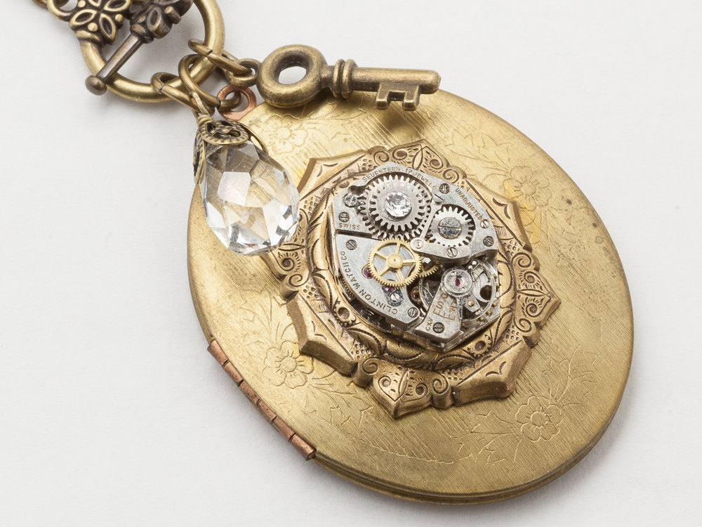 Steampunk Locket Necklace silver watch movement gears gold Oval Locket flower leaf skeleton key charm crystal Steampunk Jewelry
