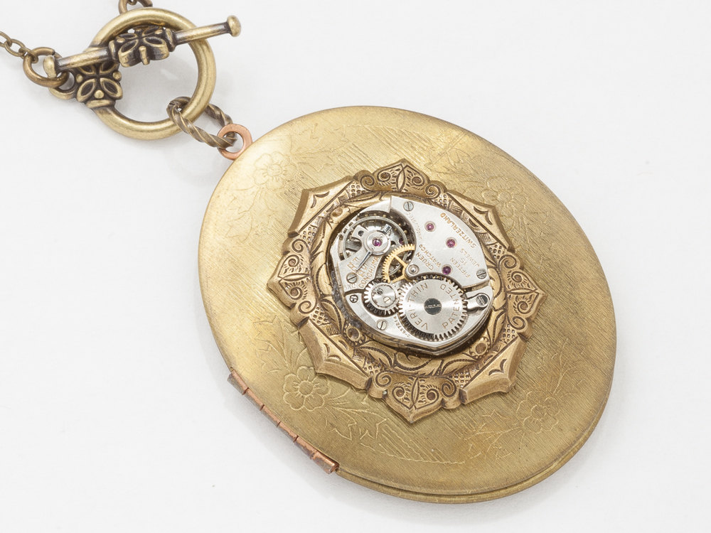 Steampunk Locket Necklace silver watch movement gold Oval Locket flower leaf Statement Necklace Steampunk Jewelry