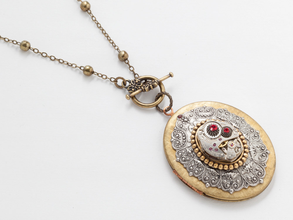 Steampunk Locket oval gold silver watch movement gears ruby red crystal Necklace jewelry