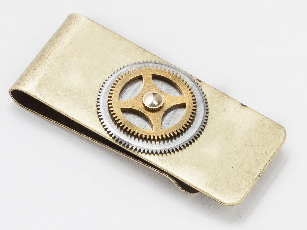 Steampunk money clip silver pocket watch wheel brass clock gear Wedding Anniversary Steampunk fashion clothing mens accessory