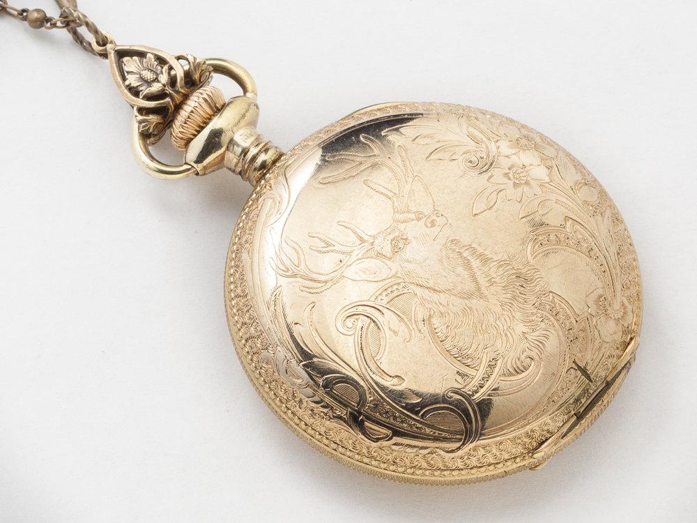 Steampunk necklace 14k gold filled pocket watch movement case steampunk necklace 14k gold filled pocket watch movement case gears silver bird pendant blue sapphire locket mozeypictures Gallery