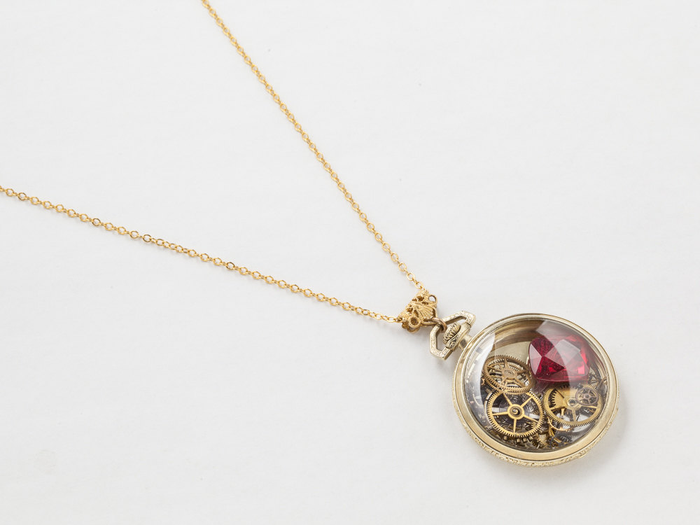 Steampunk Necklace 14k gold filled pocket watch movement case gears silver bird pendant red ruby locket necklace jewelry