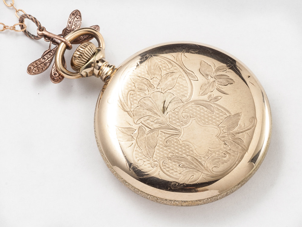 Steampunk Necklace 14k gold filled rose gold pocket watch movement case gears silver dragonfly amethyst pendant necklace