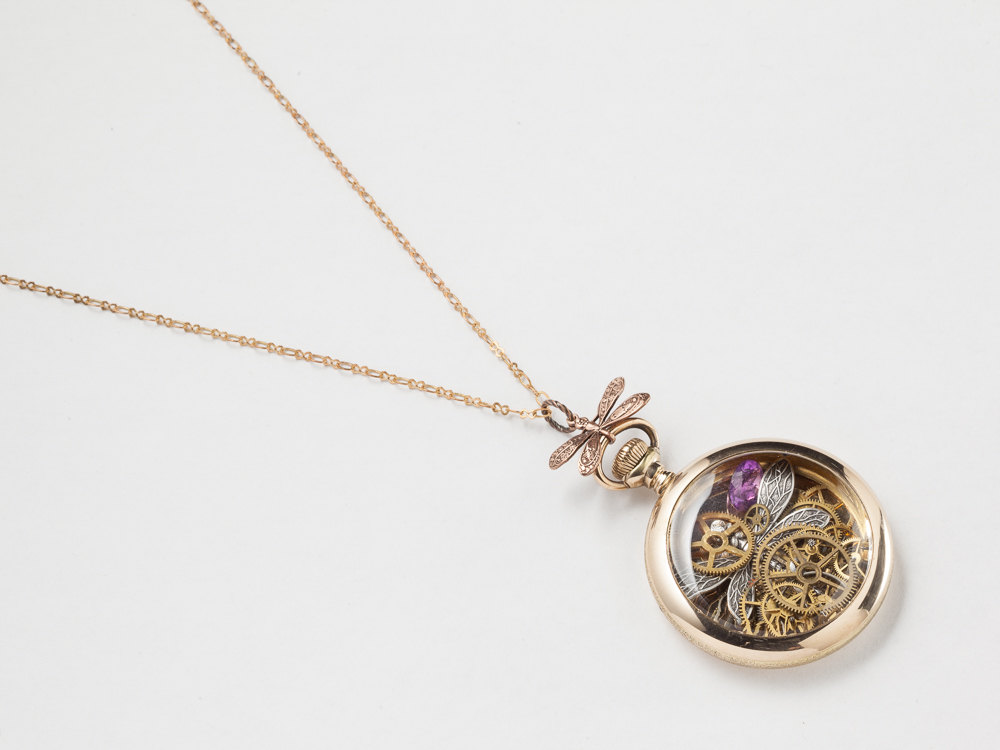 gold dragonfly case gears movement steampunk pendant necklace rose silver watch filled pocket amethyst