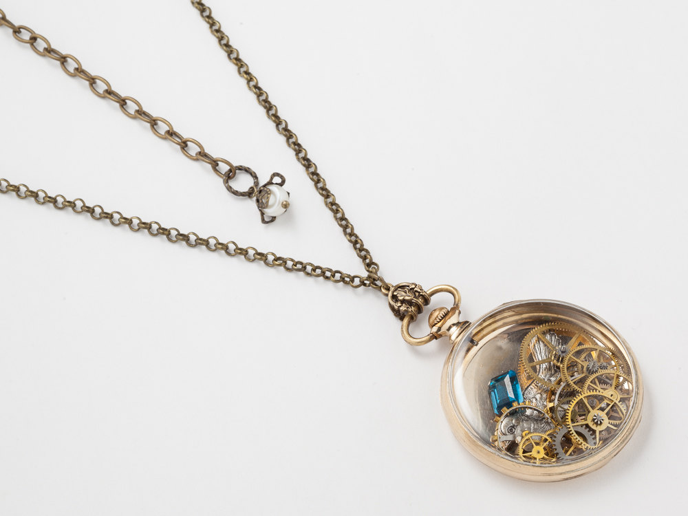 Steampunk necklace 14k gold filled watch movement case for Gold filled jewelry