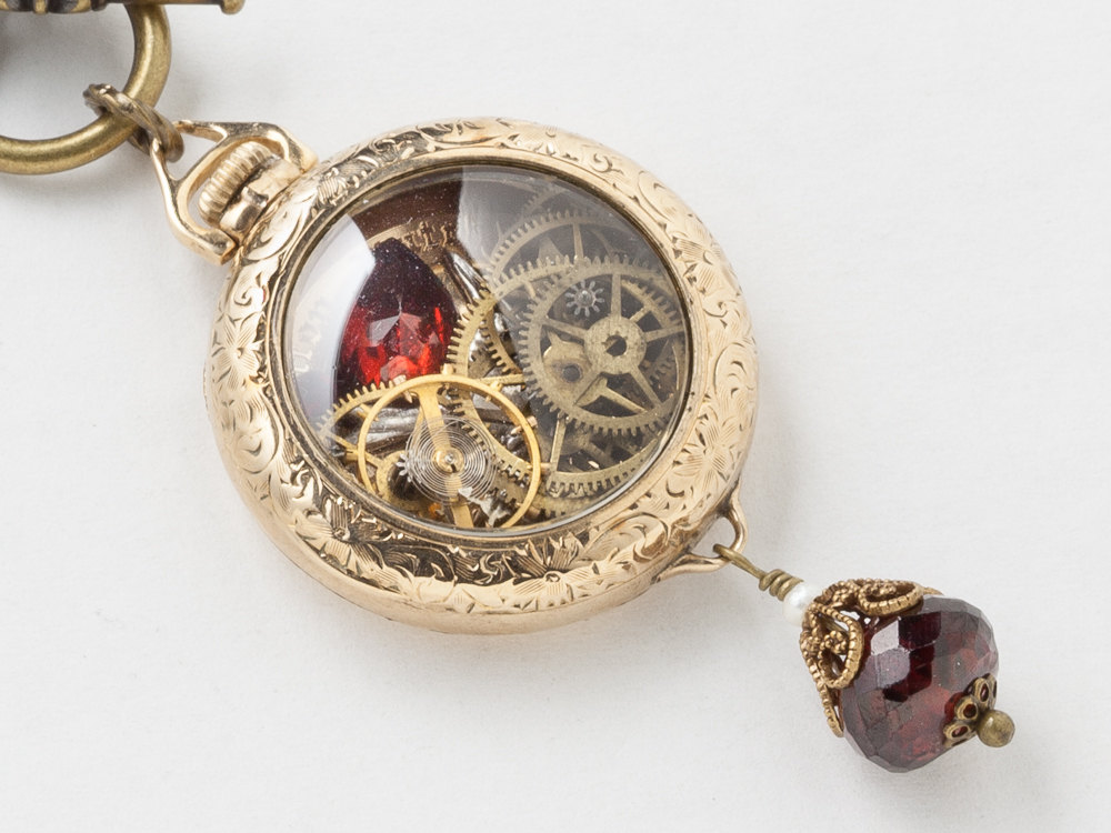 Steampunk Necklace 14k gold filled watch movement case gears silver bird red garnet pendant filigree Victorian necklace jewelry