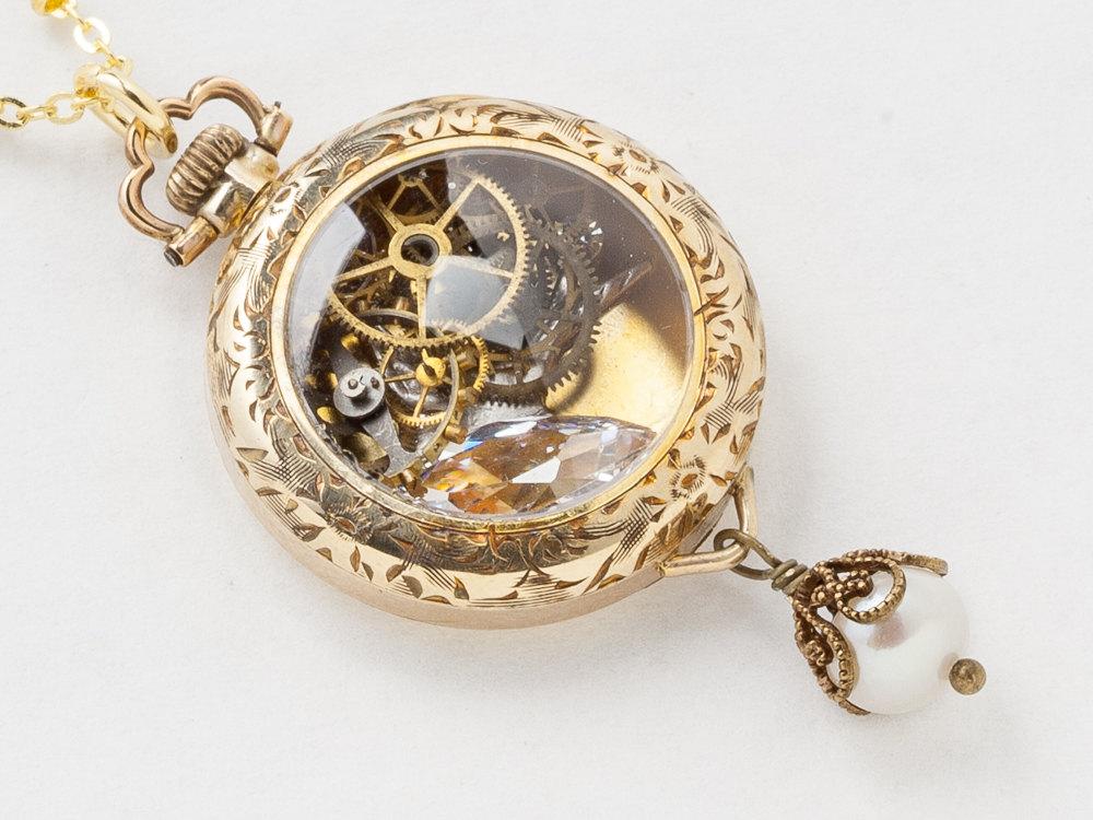 Steampunk necklace 14k gold filled watch movement case with gears steampunk necklace 14k gold filled watch movement case with gears silver bird pearl pendant filigree victorian locket necklace aloadofball Choice Image