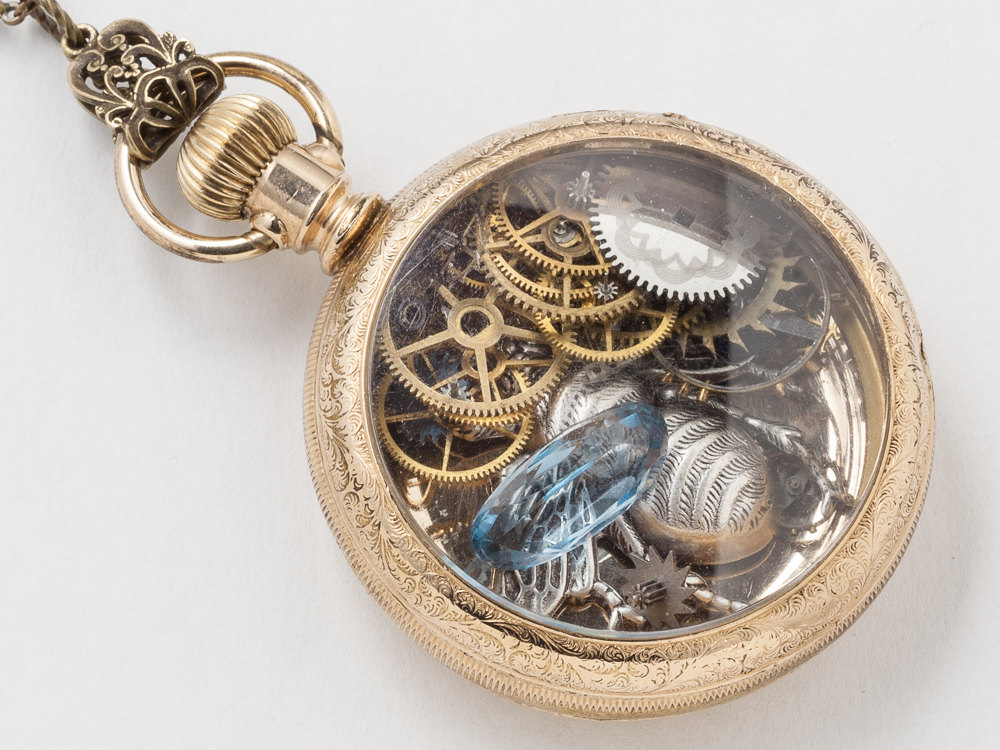 Steampunk Necklace Antique 14k gold filled pocket watch case gears wheels blue aquamarine pendant silver bumble bee necklace