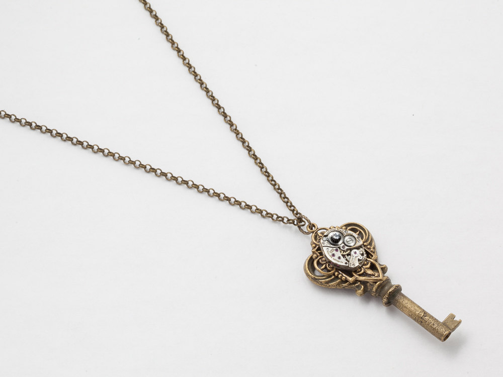 Steampunk Necklace Antique brass skeleton key silver watch movement gears with Swarovski crystal gold filigree pendant necklace jewelry