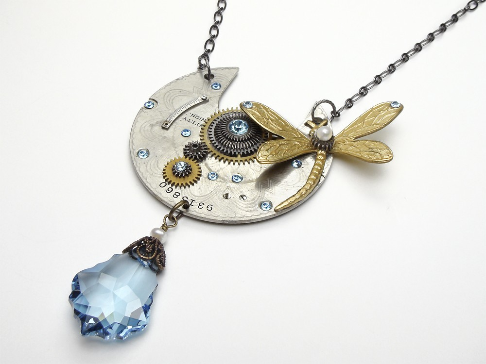 7ede1712d Steampunk necklace antique cogs gears pocket watch plate circa 1890 genuine  pearl blue swarovski crystal silver gold dragonfly brass guilloche engraved  ...