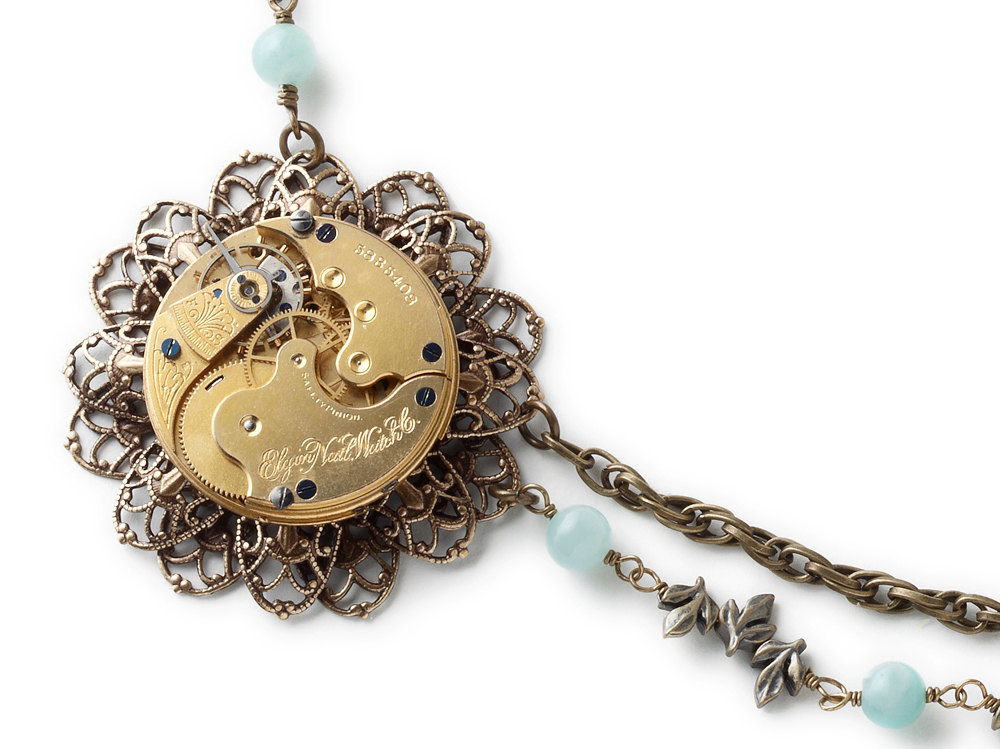 Steampunk Necklace antique gold pocket watch gears parts key filigree flower leaf glass vial Amazonite pearl crystal