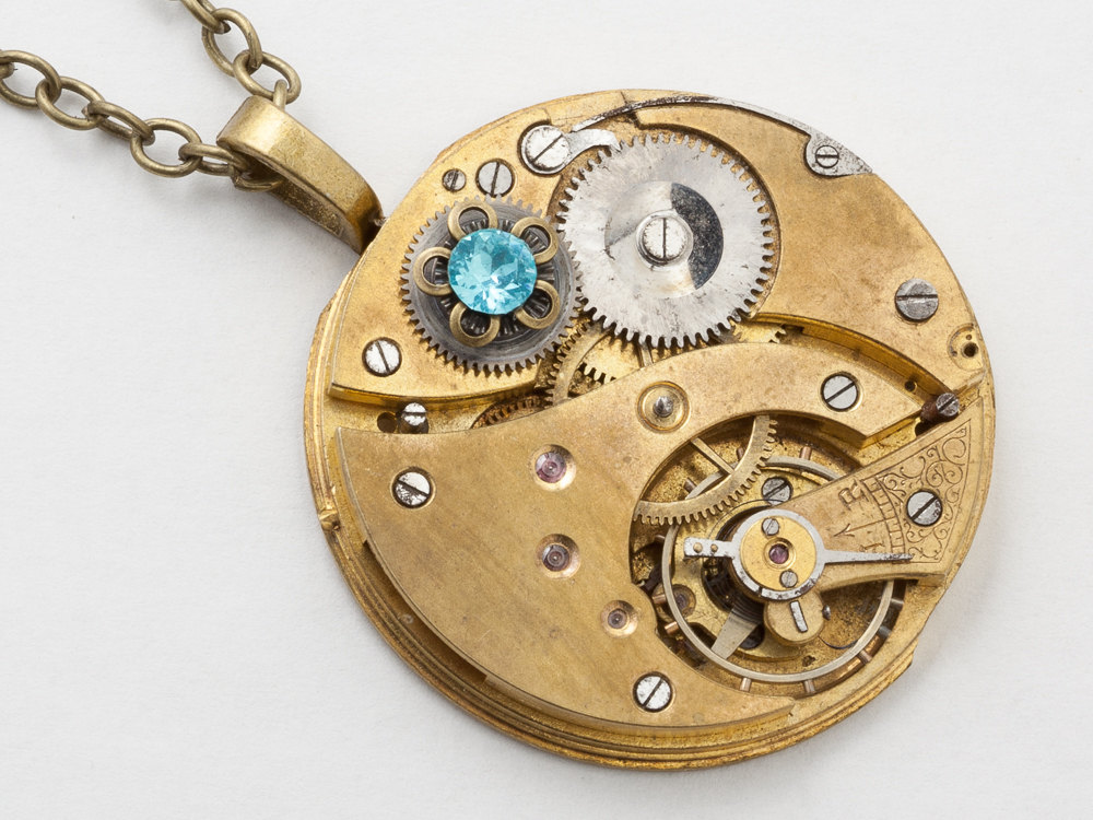 Steampunk Necklace Antique gold pocket watch movement gears aquamarine blue crystal flower pendant necklace Steampunk jewelry
