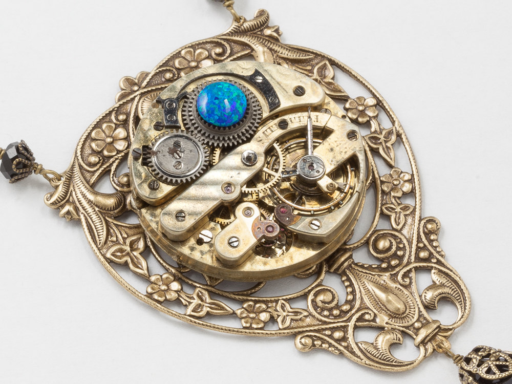 Steampunk Necklace Antique Pocket Watch Movement with Jet Crystal Beads Black Opal Gold Flower Leaf Filigree Statement Necklace