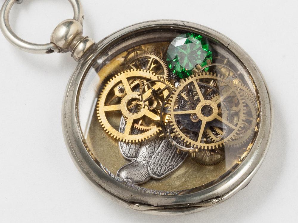 Steampunk Necklace Antique Silver pocket watch movement case gears wheels with Emerald gemstone locket bird pendant necklace