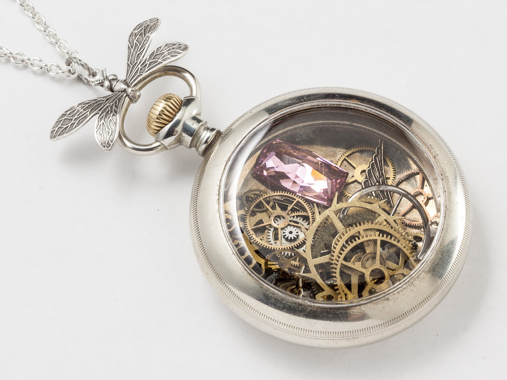 Steampunk Necklace Antique Silver pocket watch movement case gold gears wheels with pink zircon bird dragonfly pendant locket necklace