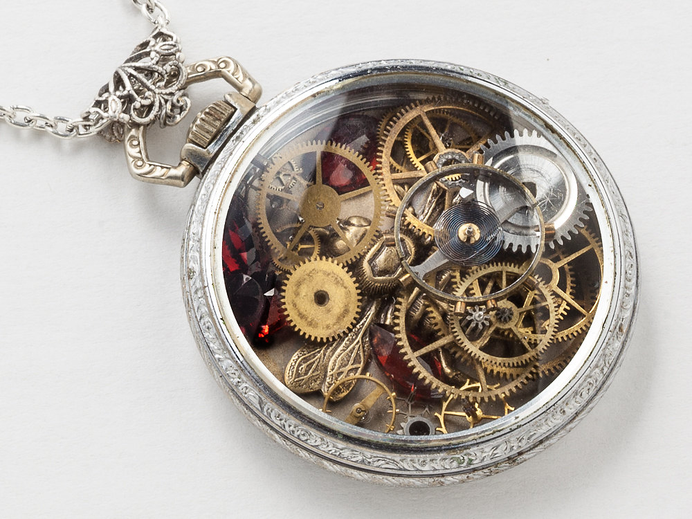 Steampunk Necklace Antique Silver pocket watch movement case with gears gold bee charm Red Garnet pendant locket filigree jewelry