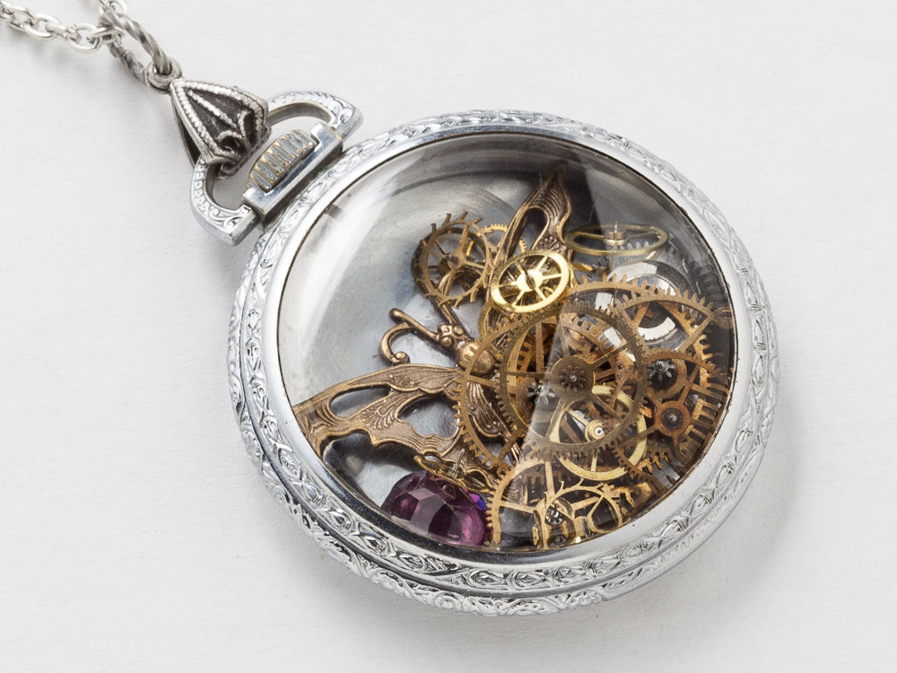 Steampunk necklace antique silver pocket watch movement case with steampunk necklace antique silver pocket watch movement case with gears gold butterfly charm amethyst crystal pendant locket jewelry aloadofball Image collections
