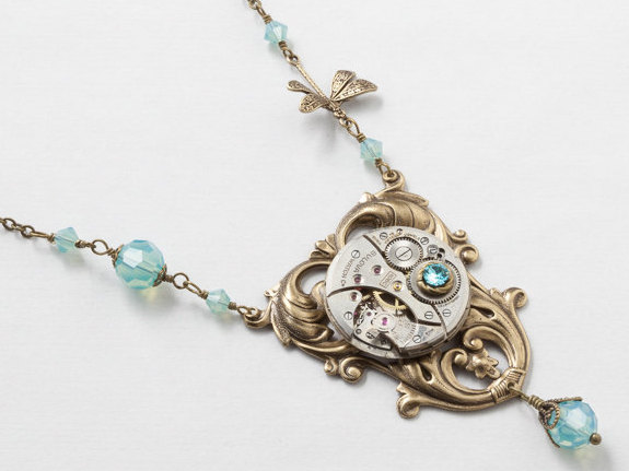 Steampunk Necklace Antique Silver Watch Movement on Victorian Leaf Filigree with Pearl Blue Topaz Crystal Gold Dragonfly
