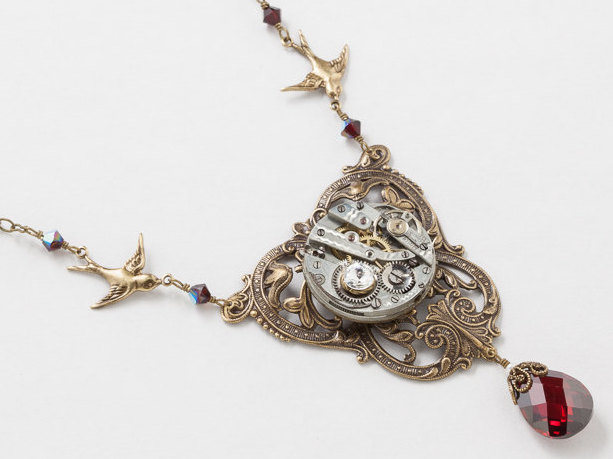 Steampunk Necklace Antique Silver Watch Movement on Victorian Leaf Flower Filigree with Pearl Garnet Crystal and Gold Bird Charms
