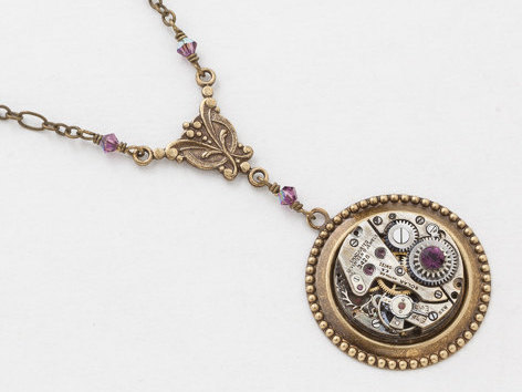 Steampunk Necklace Antique Silver Watch Movement with Amethyst Purple Crystal Beads and Gold Chain Victorian Styled Statement Necklace