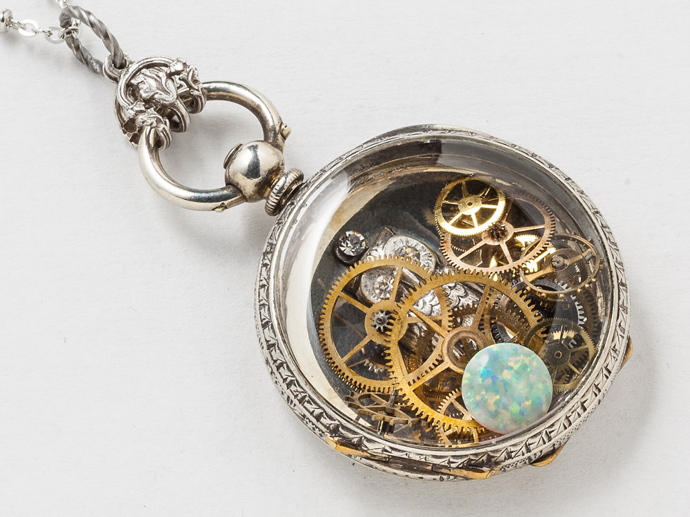 Steampunk Necklace Antique Victorian Sterling Silver pocket watch case with gears owl charm Opal flower leaf engraved locket