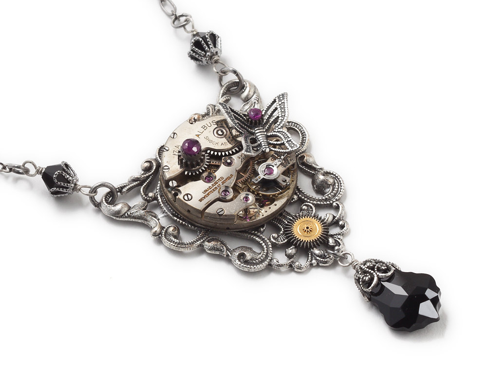 Steampunk Necklace Antique Watch Movement Gears Silver Butterfly Genuine Red Ruby Black Crystal