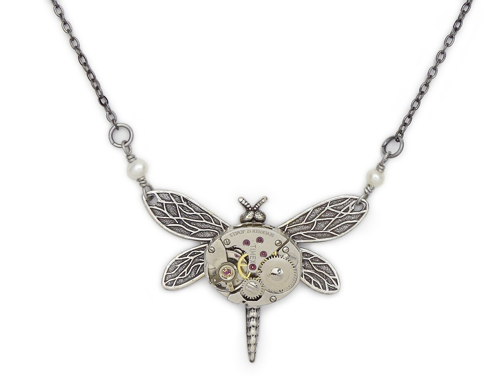 Steampunk Necklace antiqued silver dragonfly watch ...