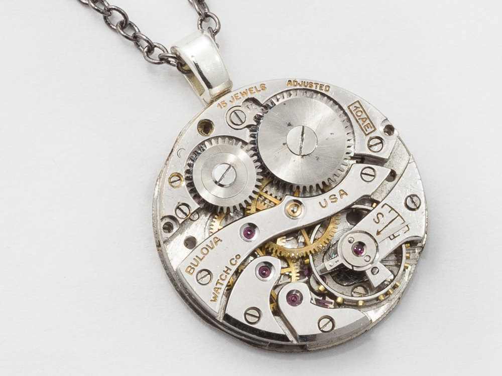 Steampunk necklace bulova watch movement gears ruby jewels silver steampunk necklace bulova watch movement gears ruby jewels silver mens womens unisex pendant steampunk jewelry mozeypictures Choice Image