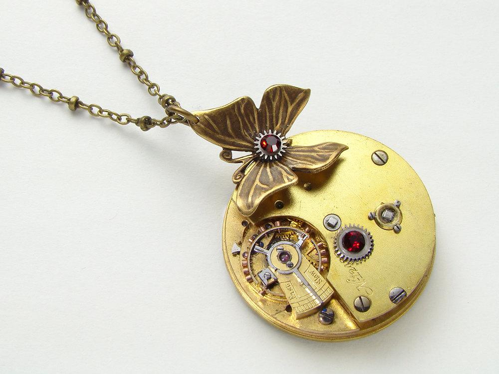 Steampunk Necklace Butterfly Key Wind Gold Pocket Watch Silver Gears Antique Red Garnet Crystal