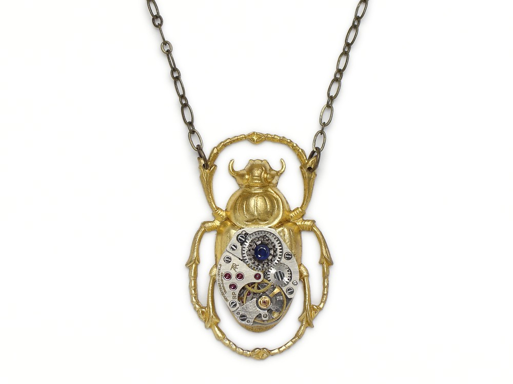 Steampunk necklace egyptian scarab beetle wristwatch movement with steampunk necklace egyptian gold scarab beetle silver wristwatch movement gears antique 1940 17 ruby jewel vintage aloadofball Choice Image