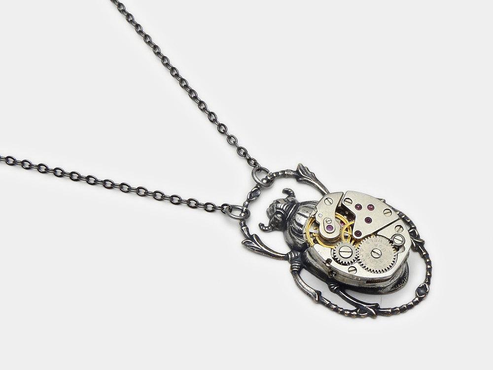 Steampunk necklace egyptian scarab beetle elgin watch movement gears steampunk necklace egyptian scarab beetle elgin watch movement gears silver pendant jewelry aloadofball Gallery