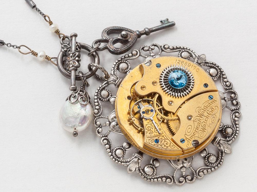 8d59321eeba23 Steampunk Necklace Elgin gold pocket watch movement on silver ...