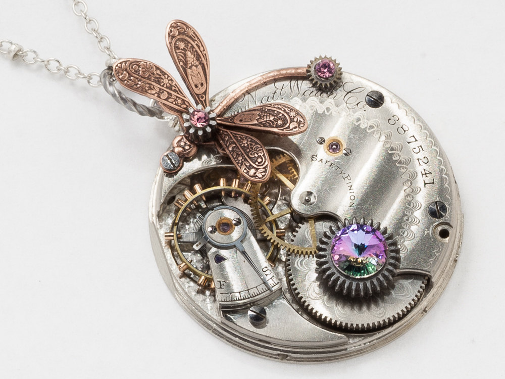 Steampunk Necklace Elgin silver pocket watch movement gears purple amethyst crystal pendant necklace copper dragonfly Statement