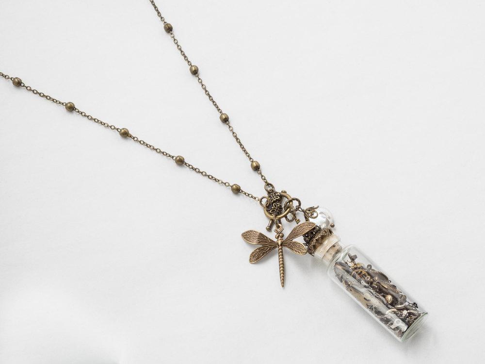 Steampunk Necklace glass vial bottle watch movement parts gears pearl skeleton key filigree pendant Statement Steampunk jewelry