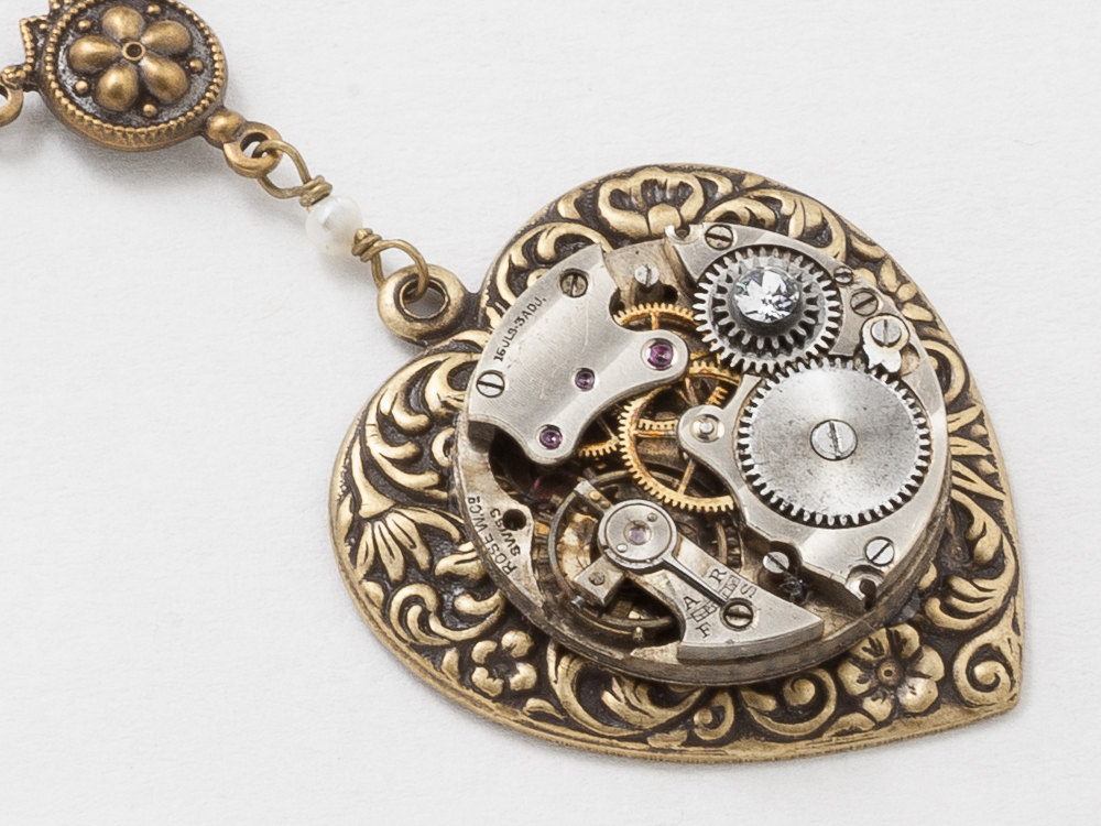Steampunk Necklace Gold Heart Pendant Antique Watch Movement on a Victorian Flower Repousse Heart with Pearl Crystal Dragonfly