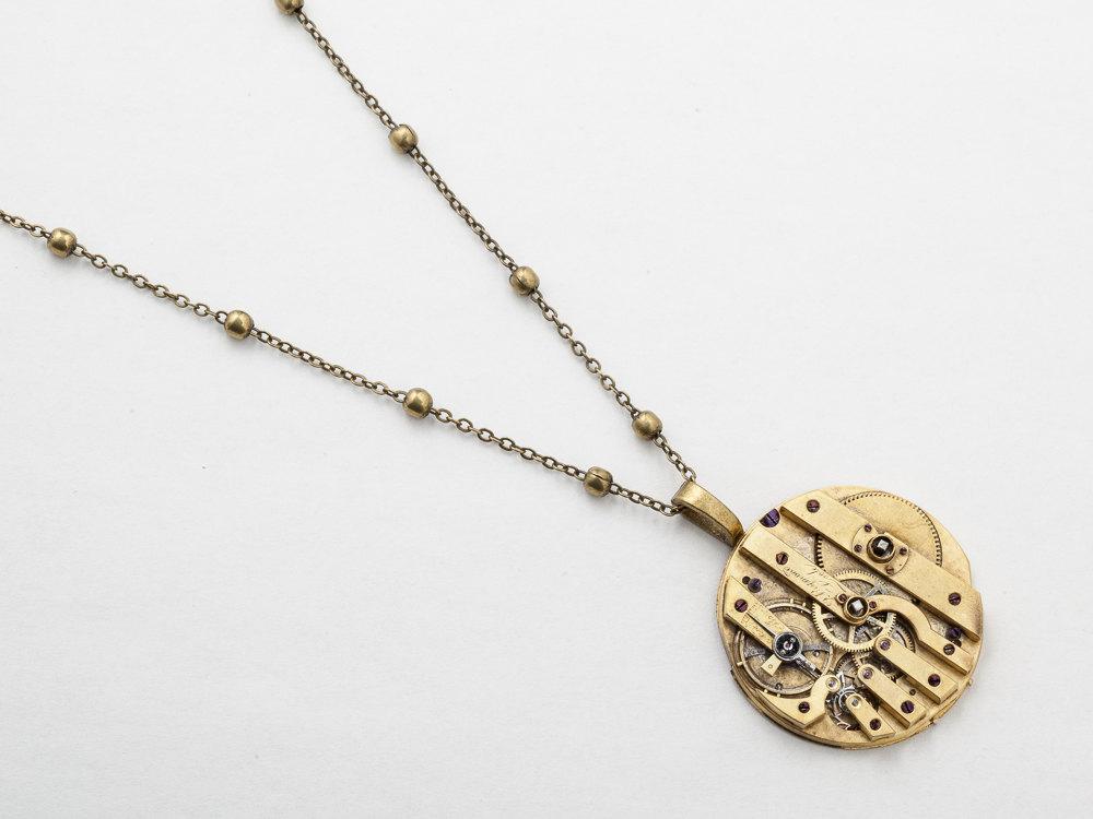 steampunk necklace gold key pocket watch movement gears antique steampunk necklace gold key pocket watch movement gears antique victorian unisex men women steampunk jewelry statement