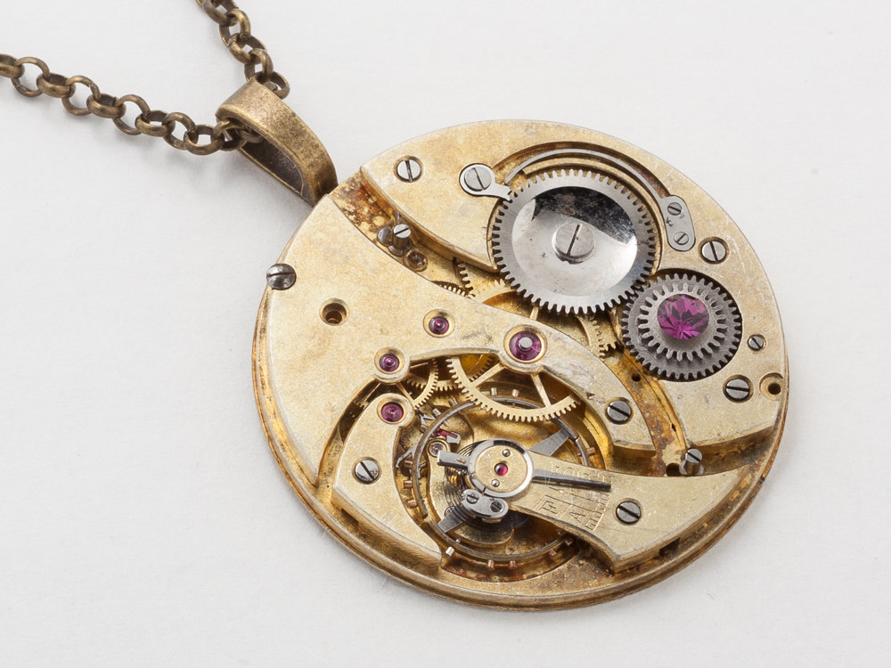 steampunk key wind pocket watch necklace gold movement gears steampunk necklace gold key pocket watch movement gears purple crystal unisex men women steampunk jewelry statement