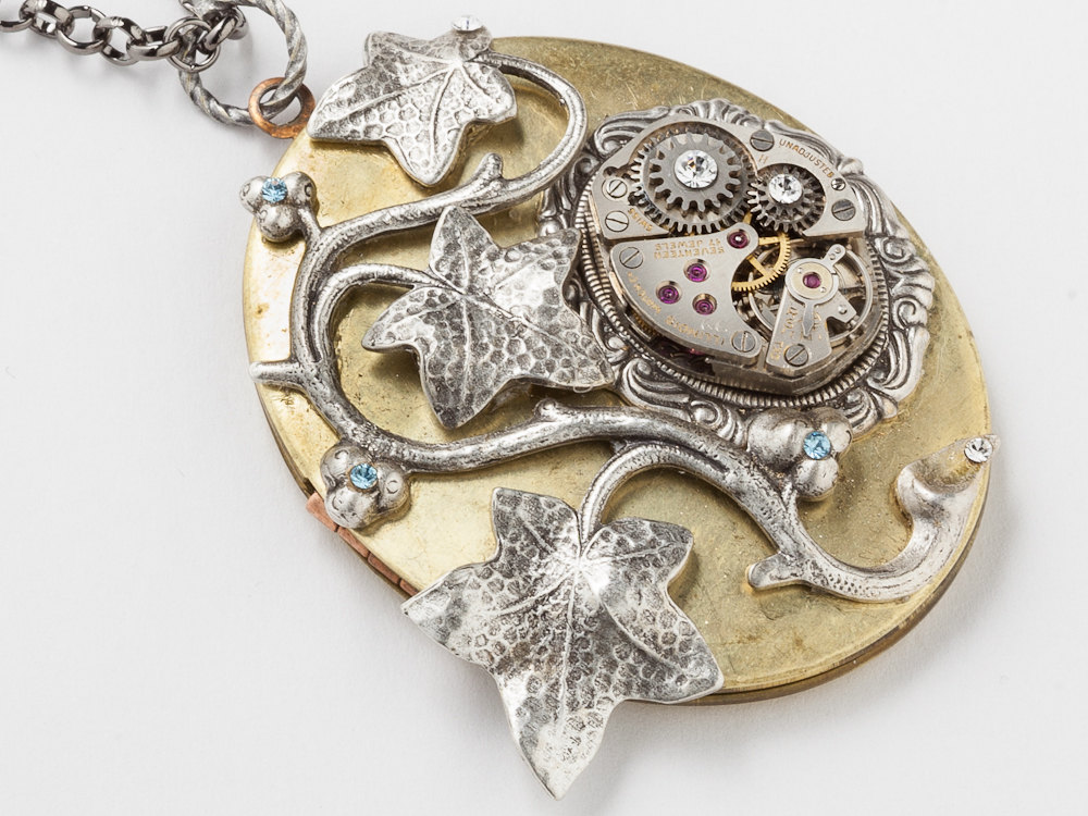 Steampunk Necklace gold locket watch movement gears silver leaf ivy blue crystal