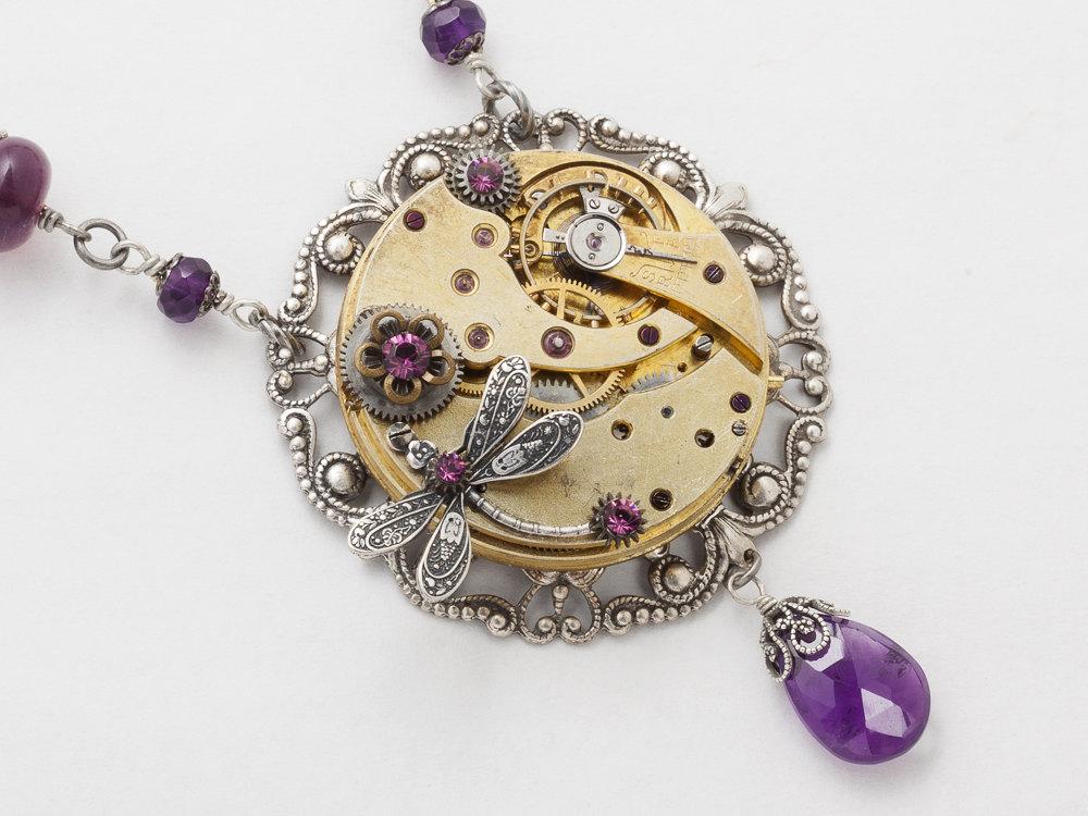 Steampunk Necklace gold pocket watch movement filigree silver dragonfly leaf flower Amethyst purple crystal Steampunk Jewelry