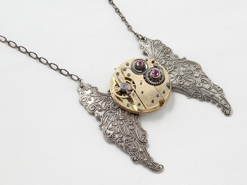Steampunk Necklace gold pocket watch movement gears genuine ruby silver butterfly wings flower leaf pendant Steampunk Jewelry