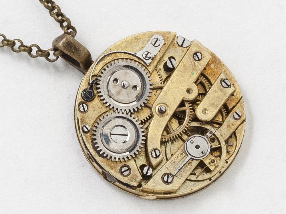 Steampunk necklace gold pocket watch movement with gears and genuine steampunk necklace gold pocket watch movement with gears and genuine ruby jewels victorian clockwork pendant statement necklace mozeypictures Gallery