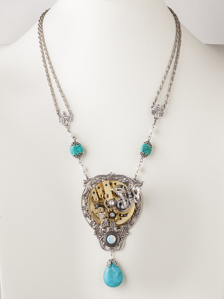 Steampunk Necklace Gold Pocket Watch with Opal Turquoise Crystal Pearl Butterfly Silver Filigree Leaf Statement Necklace