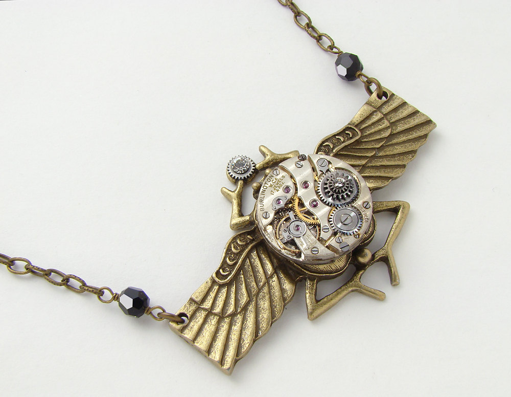 Steampunk Necklace gold scarab beetle wings antique watch ...