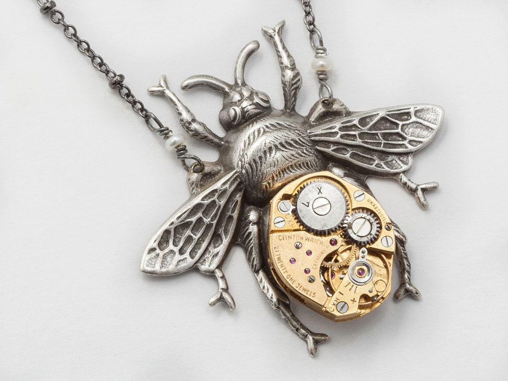 7ee90c909 Steampunk Necklace gold watch movement gears silver bumble bee Steampunk Jewelry  pendant Statement Necklace